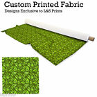 GREEN PAISLEY DESIGN FABRIC LYCRA SPANDEX ALOBA POLYESTER SATIN L&S PRINTS