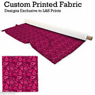 HOT PINK PAISLEY DESIGN FABRIC LYCRA SPANDEX ALOBA POLYESTER SATIN L&S PRINTS