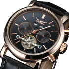Mens Tourbillon Automatic Mechanical Date Military Leather Army Wrist Watch