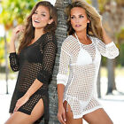 Women Sexy Mesh Hollow Crochet Swimwear Bikini Cover Up Beach Stylish Tops Dress