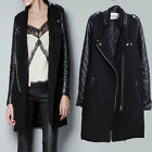 New Women Fashion PU Leather Sleeves Stand-up Collar Coat Jacket Overcoat S-XXL