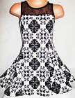 GIRLS 50s STYLE WHITE & BLACK GOTHIC CROSS PRINT SKATER PARTY DRESS