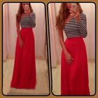 New Women's Bodycon One Shoulder Stri ped Evening Party Red  Maxi Long Dresses S
