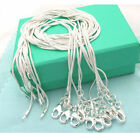 10pcs Wholesale Silver Plated Fashion 1mm Snake Chain Necklace For Pendant 925