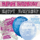 Black Pink Blue Glitz Boy's Girl's Birthday Banner Party Decoration Pack Kit Set