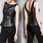 Stylish Womens PU Leather Deep V-shaped Flouncing Waistcoat Vest Tank Top 6754