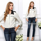Women Office Lady Simple Casual Chiffon Long Sleeve Lapel Slim Blouse Shirt Tops