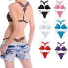 Sexy Lady Lace Front Closure Push Up Bra Racer Back Racerback Underwear Set Hot
