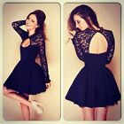 Sexy Women's Floral Long Sleeve Lace Backless Hollow Out Cocktail Dresses New S