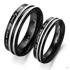 1PC Wedding Engagement Stainless Steel Ring Couple Rings Band Laser Engraving