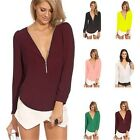 Fashion New Women Zipper V-neck Chiffon Tops Long Sleeve Shirt Casual Blouse #LD