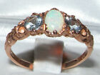 Ladies Solid 14ct Rose Gold Natural Opal & Aquamarine English Trilogy Ring