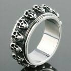Vintage Rock Heavy Stainless Steel Skeleton Skull Head Finger Ring Men's Jewelry