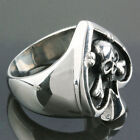 Punk Heavy Stainless Steel Spade & Skeleton Skull Head Charm Finger Ring Jewelry