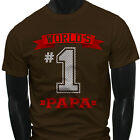 Dad Fathers Day  World's No.1 Papa Best Mens Brown T-Shirt