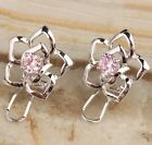 HANDMADE Morganite / Garnet / Topaz Gems Fashion Silver Studs Earrings B5014
