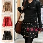 Women skirt Pleated lacing waist Vintage retro Cat printed Above-knee skirt