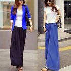 Elastic Waist Chiffon Women's Loose Wide Leg Trousers Palazzo Pants Lined Solid