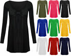 Womens Long Sleeve Bow Knot Swing Top Ladies Casual Tunic Dress Tee Size 8-22