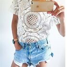 2015 New Women's Casual Crochet Floral Lace Hollow Short Tops Blouse Shirts - LD