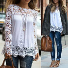 NEW Lace Tops Chiffon Shirt Womens Ladies Long Sleeve Embroidery Top Blouse