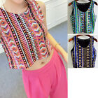 NEW Ladies Semi Sheer Sleeveless Embroidery Floral Geometric T-Shirt Top Blouse