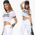 Funny Sexy Womens Sleeveless Summer Shirt Casual Cotton Blouse Crop Tops T-shirt
