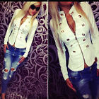 New Womens Ladies Stylish Casual Collar Short Suit Coat Jacket Blazer 8 10 12 14