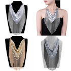 Gorgeous Shiny Beads Scarf Chain Tassel Cluster Bib Pendant Statement Necklace