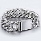 "20mm Silver Tone Cut Curb 316L Stainless Steel Bracelet Mens Chain 7-11"" HEAVY"