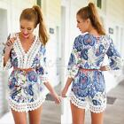 Sexy Women Boho Floral 3/4 Sleeve V-Neck Casual Summer Mini Short Beach Dress