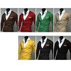Fashion Men Deep-V Slim Fit Knit Cardigan Sweater Neck Button Basic Coat Blazer