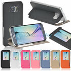 Premium Slim Flip Folio PU Leather Window Case Cover for Samsung Galaxy S6 Edge