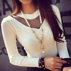 New Slim Long Sleeve Korean Womens Long Sleeve Casual Career Tops Blouse T-shirt