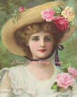 Pretty Lady With Straw Hat & Beautiful Roses  Fabric Block 5x7 OR 8x10