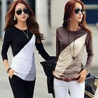 New Ladies Women's Long Sleeve Crew Neck Office Casual Blouse Top Shirt Size8-14