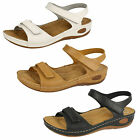 LADIES DOWN TO EARTH SYNTHETIC VELCRO SANDLES IN 3 DIFFERENT COLOURS F10450