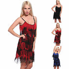 20s 5 Layer Fringe Contrast Color Slip Dress Swing Flapper Hippie Dancing Outfit