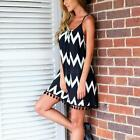 Summer Women Party Cocktail Wave Striped Sexy Tassel Sleeveless Mini Dress L55