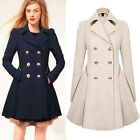 New Womens Double Breasted Trench Coat Outwear Slim Jacket Long Coat Windbreaker