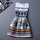 Women Ladies Sleeveless Bodycon Casual Party Evening Cocktail Printing Dresses