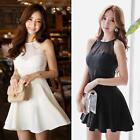 Korean Womens Ladies Sleeveless Chiffon Mesh Splicing Party Evening Mini Dress