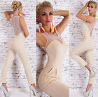 Sexy Womens Party Jumpsuit Overall Open back Beige Sizes UK 6 8 10 12