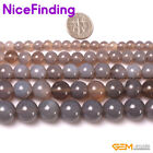 Natural Round Smooth Gray Agate Gemstone Beads For Jewelry Making 15''DIY 4-20mm