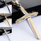 Black Silver Gold Men Chain Byzantine Stainless Steel Cross Pendant Necklace HOT