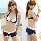 3pcs Bikini Set Underwire Halter Bra Bottom Shorts Boxer Brief Swimsuit Swimwear