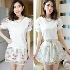 2pcs Set Floral Women's Puff Sleeve Top Shirt Blouse Organza Micro Mini Skirt