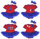 4th July Red Bodysuit Bling Blue Sequins Jumpsuit Baby Dress Girl Romper NB-18M