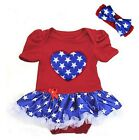 Baby 4th July Blue Star Heart Red Patriotic Bodysuit Romper Tutu Party Dress