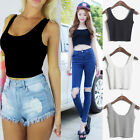 7Colors WOMEN SCOOP NECK CROPPED BELLY TOP SLEEVELESS FITTED TEE STRETCHY UK-NEW